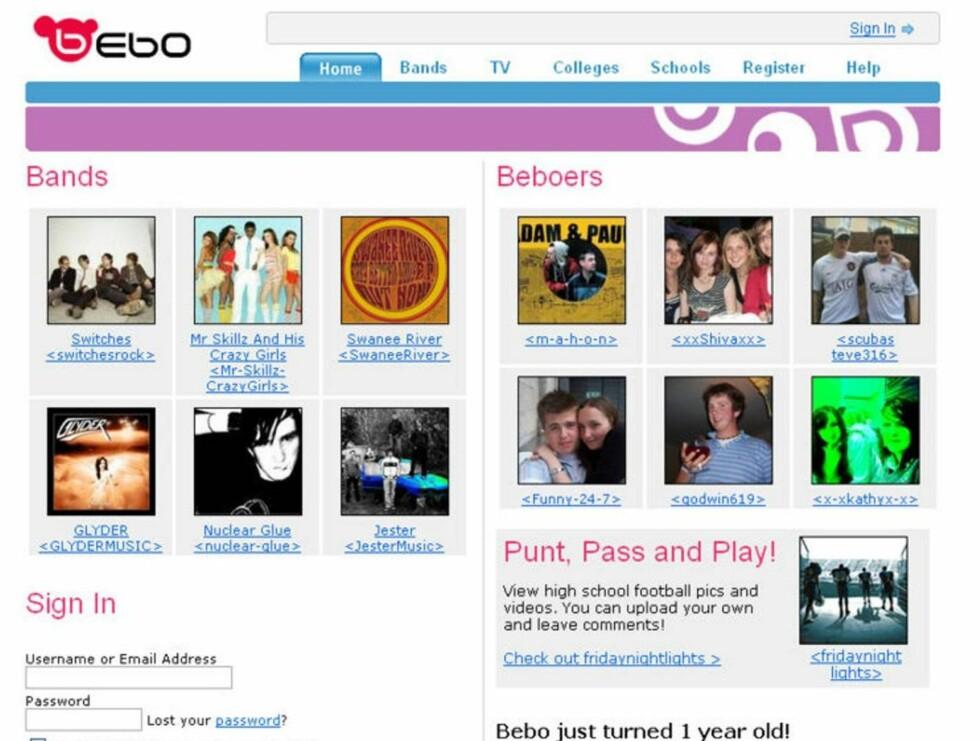 SØK: Nettsamfunnet Bebo er det mest søkte etter på Google.com. Foto: AP/Scanpix