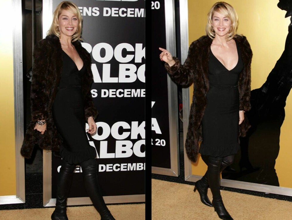 FLOTT MED PELS: Sharon Stone viste stolt fram sin norske pels på Rocky-festen. Foto: stella