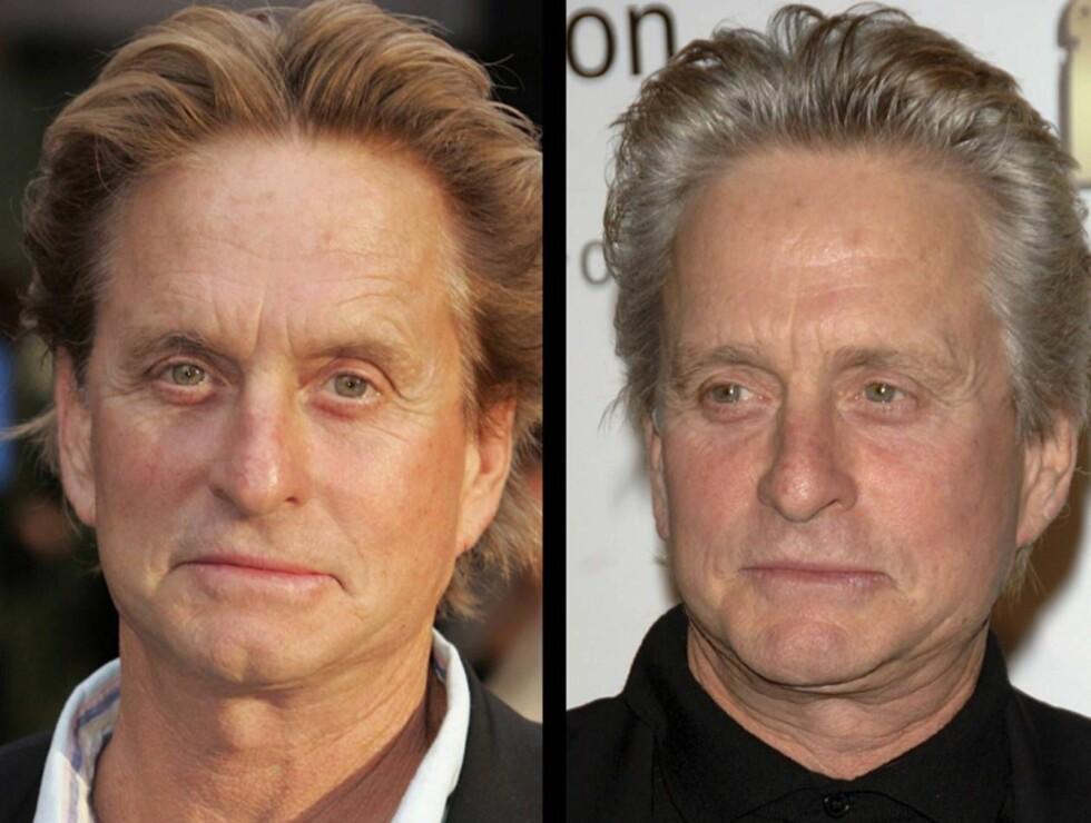NATURLIG LOOK: Michael har sluttet å farge håret. Bildene er tatt med drøye tre måneders mellomrom. Foto: All Over Press
