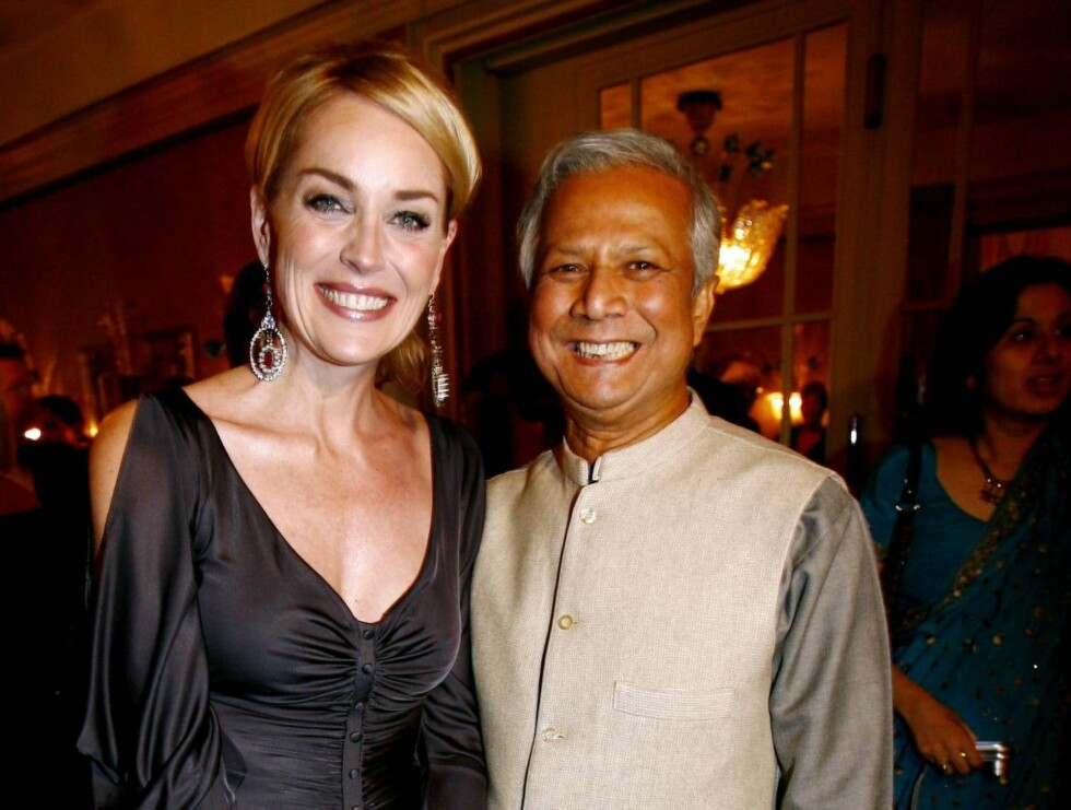 PERLEVENNER: Sharon Stone og Mohammad Yunus. Foto: SCANPIX