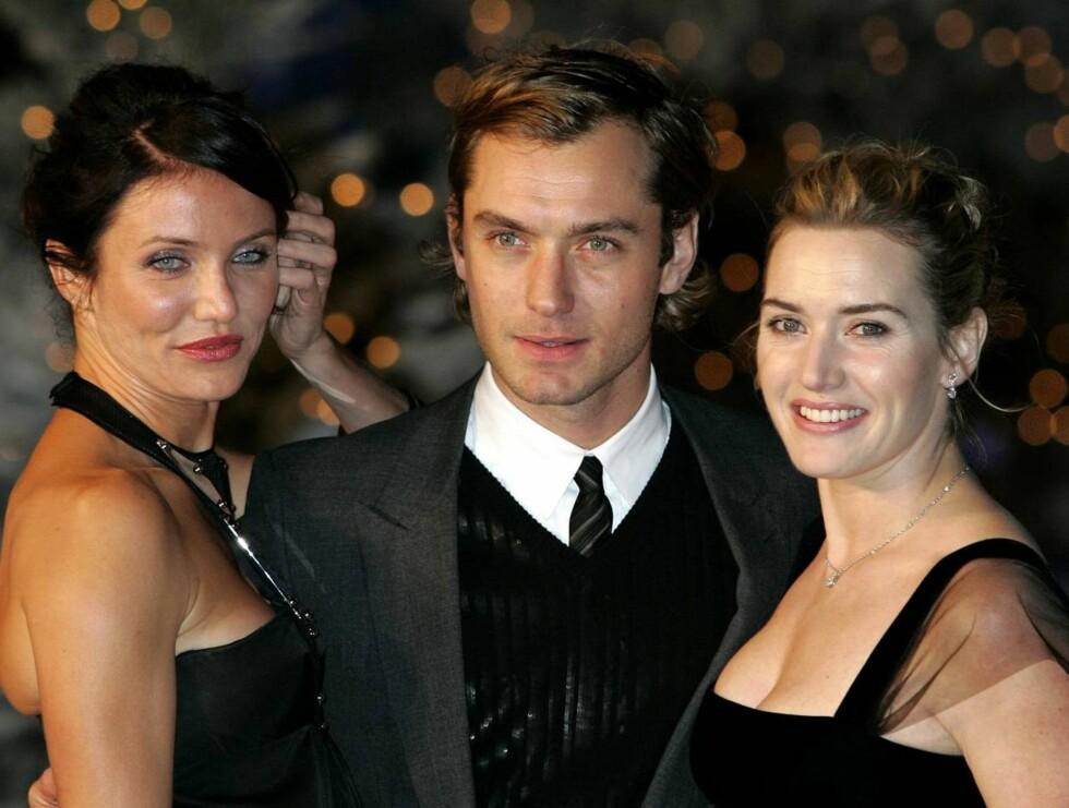 TRIO: Cameron Diaz, Jude Law og Kate Winslet strålte under gårsdagens premiere i London. Foto: AP/Scanpix