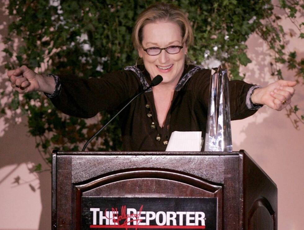 VANT: Meryl var tydeligvis glad for den gjeve prisen hun mottok i går. Foto: AP/Scanpix
