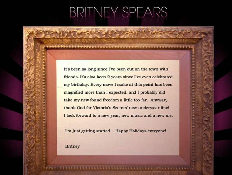 ANGRER: Britney Spears mener hun tok friheten litt for langt. Foto: Britneyspears.com