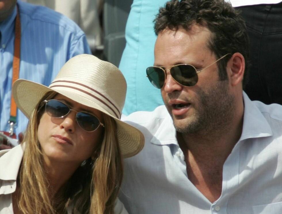 BREAK-UP: Jennifer Aniston og Vince Vaughn ble sammen da de slo opp på film. Nå gjør de det også slutt i virkeligheten. Foto: AP