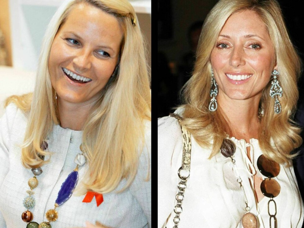 SMÅBARNSMØDRE MED STIL: Prinsesse-venninnene Mette-Marit og Marie- Chantal er påfallende like i stilen.