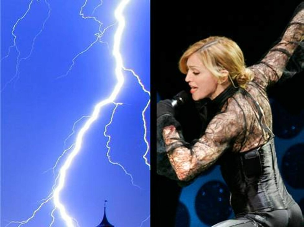 Madonna er livredd alt som har med lyn og torden å gjøre. - Det skremmer dritten av meg, har hun uttalt. Foto: AP/Scanpix