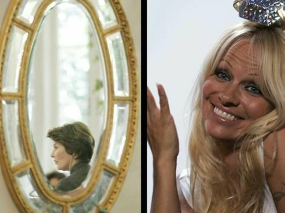 """""""Baywatch""""-baben Pamela Anderson er kjent for sitt sexy utseende. Selv hevder hun at hun får panikk av speil! - Jeg hater dem, sier hun kort. Foto: AP/Scanpix"""