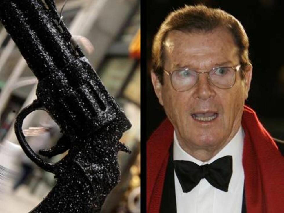 """Mannen med den gyldne pistol, """"James Bond""""-stjernen Roger Moore, får faktisk rykninger i øyet når han må ta på en. - Det eneste skuespillet jeg har bedrevet, er å prøve å kontrollere rykningene i filmene mine, sier han. Foto: AP/Scanpix"""