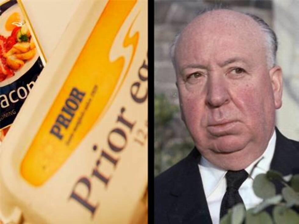 """Filmskaperen Alfred Hitchcock hadde en sterk fobi mot egg. I filmen """"To Catch a Thief"""" kan man se hvor ille frykten hans er. Foto: AP/Scanpix"""
