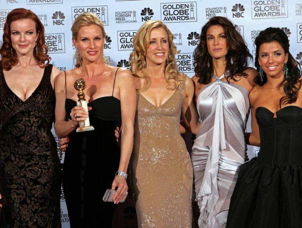FRUENE: Marcia Cross, Nicollette Sheridan, Felicity Huffman, Teri Hatcher og Eva Longoria. Foto: AP/Scanpix