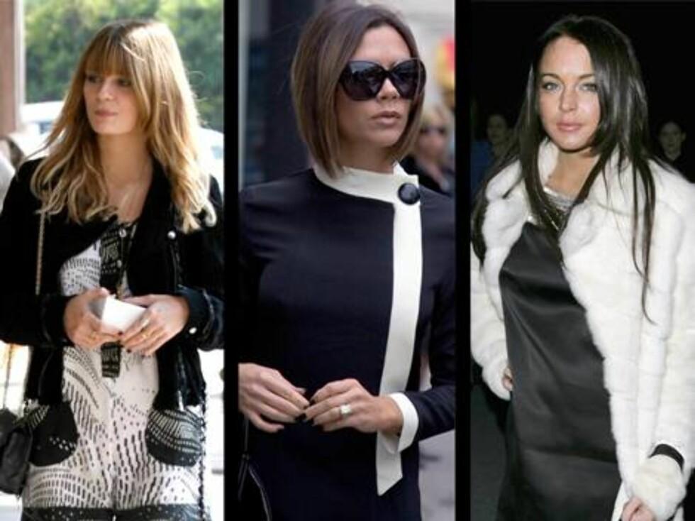 SORT/HVITT: Mischa Barton, Victoria Beckham og Lindsay Lohan. Foto: All Over Press