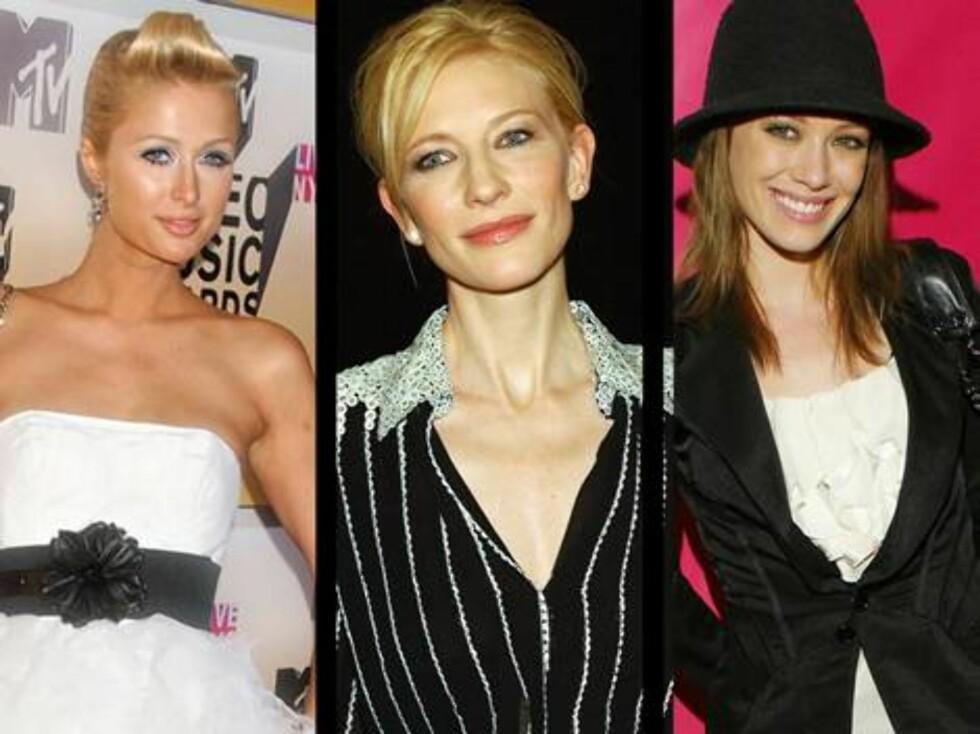 SORT/HVITT: Paris Hilton, Cate Blanchett og Hilary Duff. Foto: All Over Press