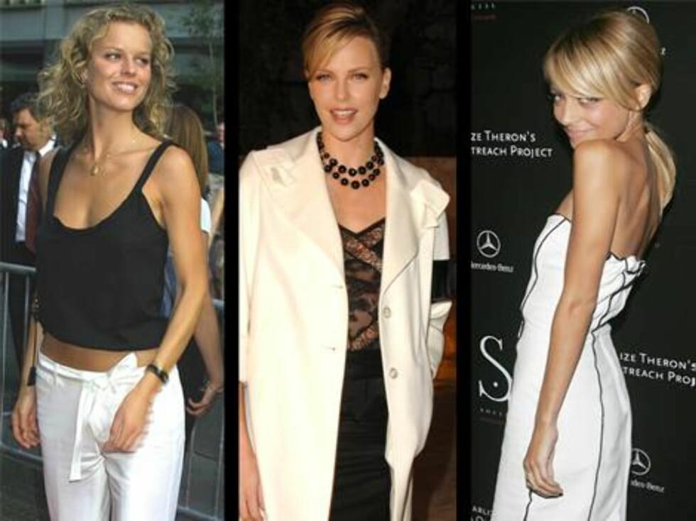 SORT/HVITT: Eva Herzigova, Charlize Theron og Nicole Richie. Foto: All Over Press