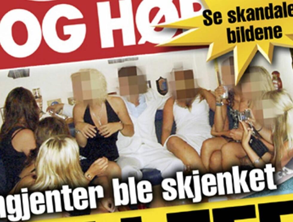 FYLLESJOKK: Offiserene skjenket ungjenter da de arrangerte fest på Kongeskipet Norge. Foto: Faksimile