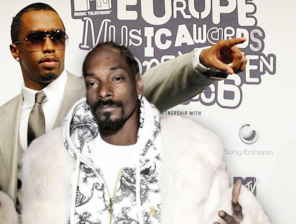 GUTTA I RØYKEN: P Diddy og Snoop Dogg var nattens konger i kongens by. Foto: AP (fotomontasje)