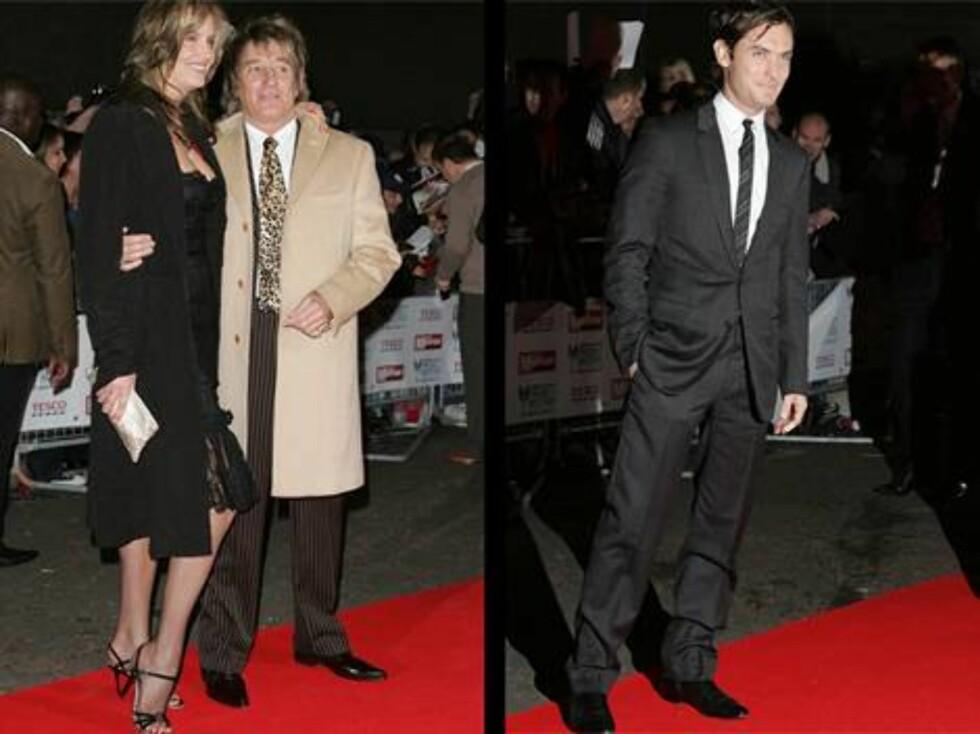 PÅ FEST: Rod Stewart hadde med seg kona Penny Lancaster, mens Jude Law kom alene. Foto: Stella