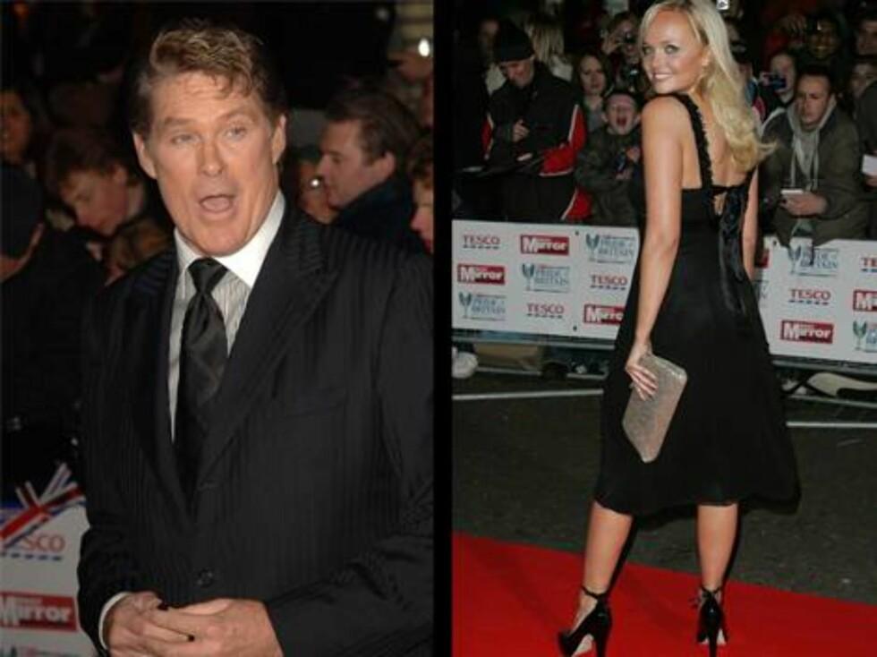 PÅ FEST: DDavid Hasselhoff og tidligere Spice Girl Emma Bunton. Foto: Stella