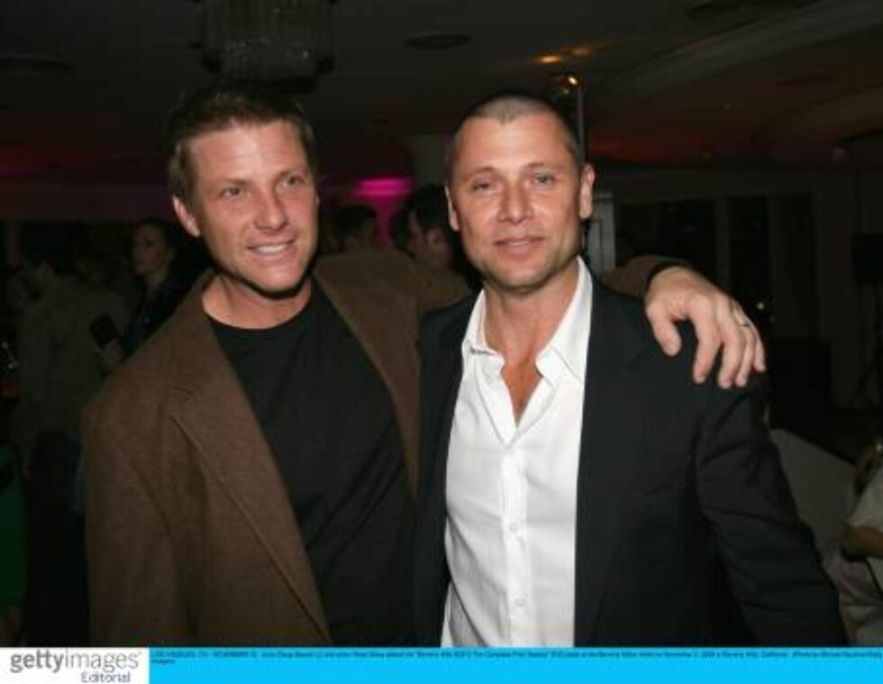 """LOS ANGELES, CA - NOVEMBER 03:  Actor Doug Savant (L) and actor Grant Show attend the """"Beverly Hills 90210 The Complete First Season"""" DVD party at the Beverly Hilton Hotel on November 3, 2006 in Beverly Hills, California.  (Photo by Michael Buckner/Getty Foto: All Over Press"""