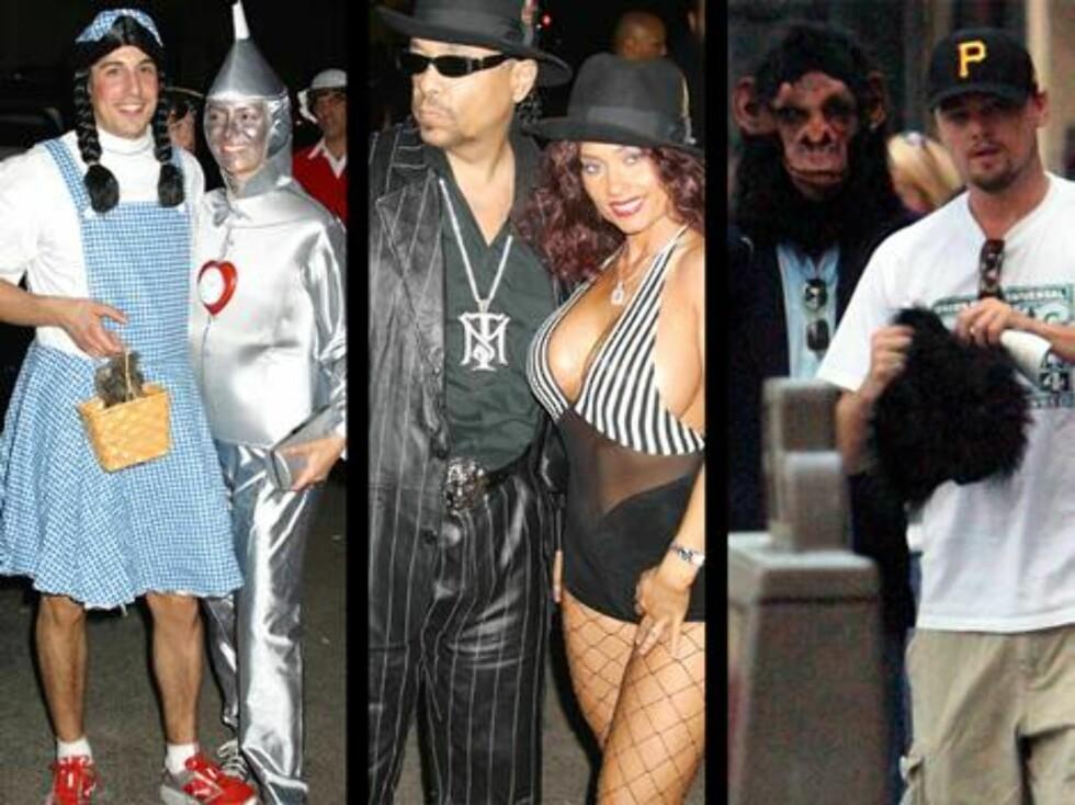PÅ FEST: American Pie-stjernen Jason Biggs, modellen Coco og rapper Ice T. Til høyre Leonardo DiCaprio. Foto: stella, X17