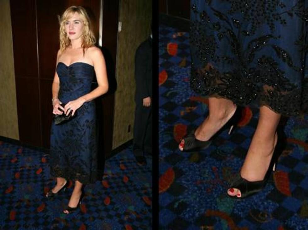KATE WINSLET: Vi hadde aldri trodd det, men Titanic-stjernen bruker sko i størrelse 46. Foto: All Over Press