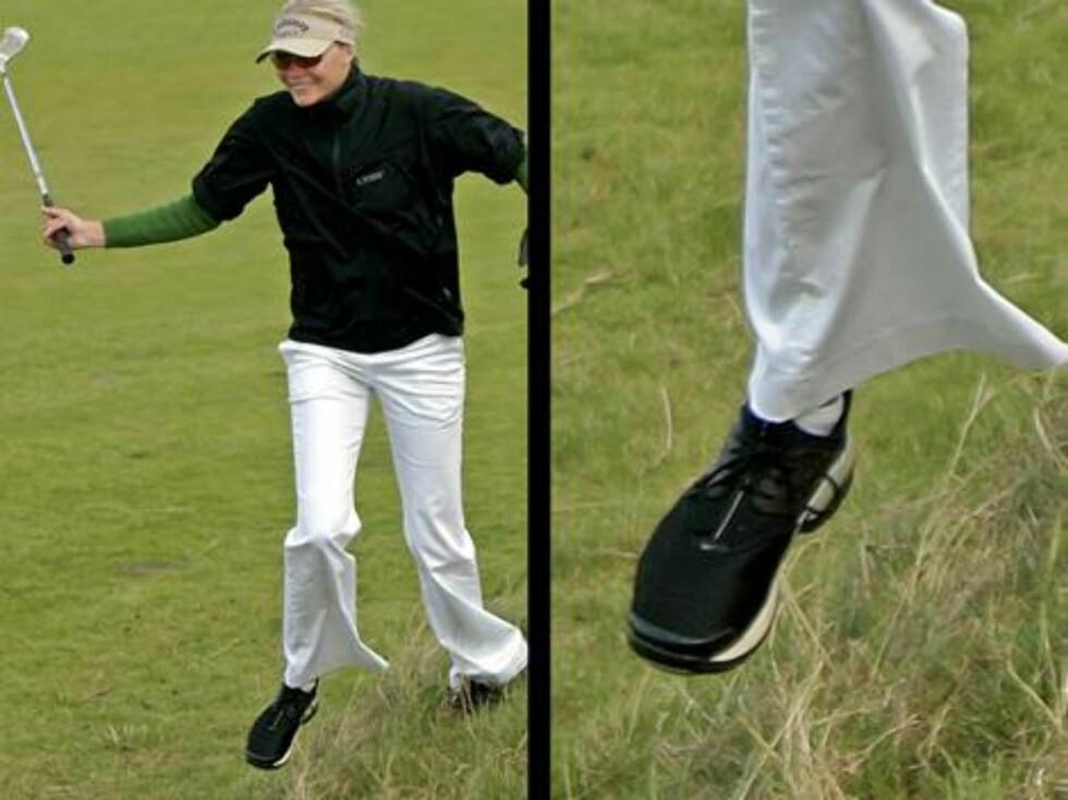 JODIE KIDD: Supermodellen må nok kjøpe golfsko i herreavdelingen med størrelse 44. Foto: AP/Scanpix
