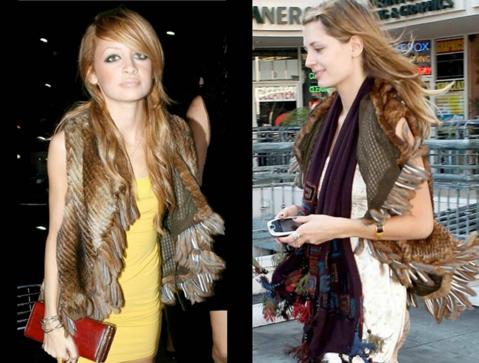 LIKE: Hvem syns du passer vesten best? Nicoles party-vest eller Mischas shopping-vest? Foto: All Over Press