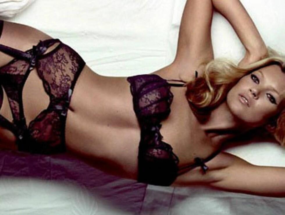 TIL NORGE: Kate Moss kan komme til å pryde mange reklameplakater i Norge framover. Foto: Agent Provocateur