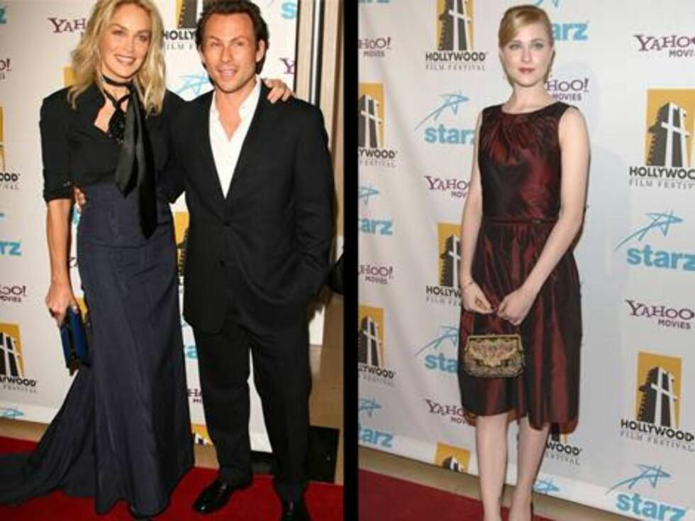 NYTT PAR?: Sharon Stone og Christian Slater kom sammen, mens skuespiller Evan Rachel wood kom alene. Foto: Stella
