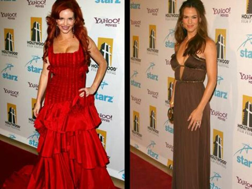"""VAKRE KJOLER: Phoebe Price og Jennifer """"Alias"""" Garner viste stolt fram sine nye kjoler. Foto: Stella"""
