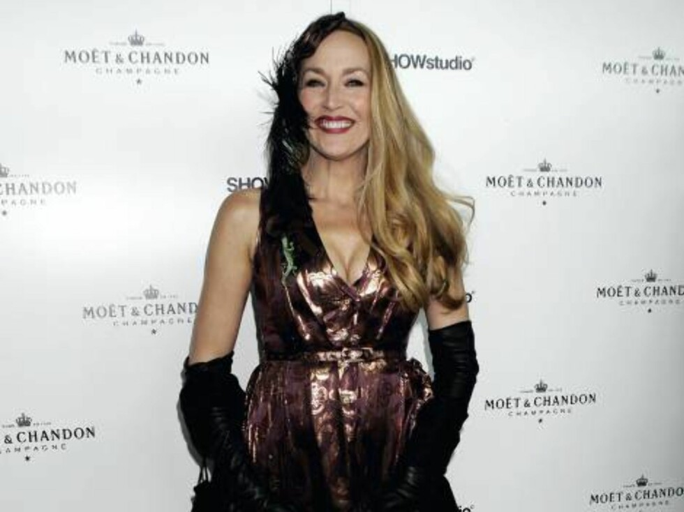 Vakre Jerry Hall strålte. Foto: All Over Press