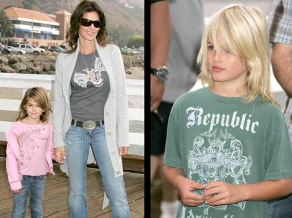 GASSPROTEST: Cindy Crawford kom med barna Kaya og Presley (t.h). Foto: Stella Pictures
