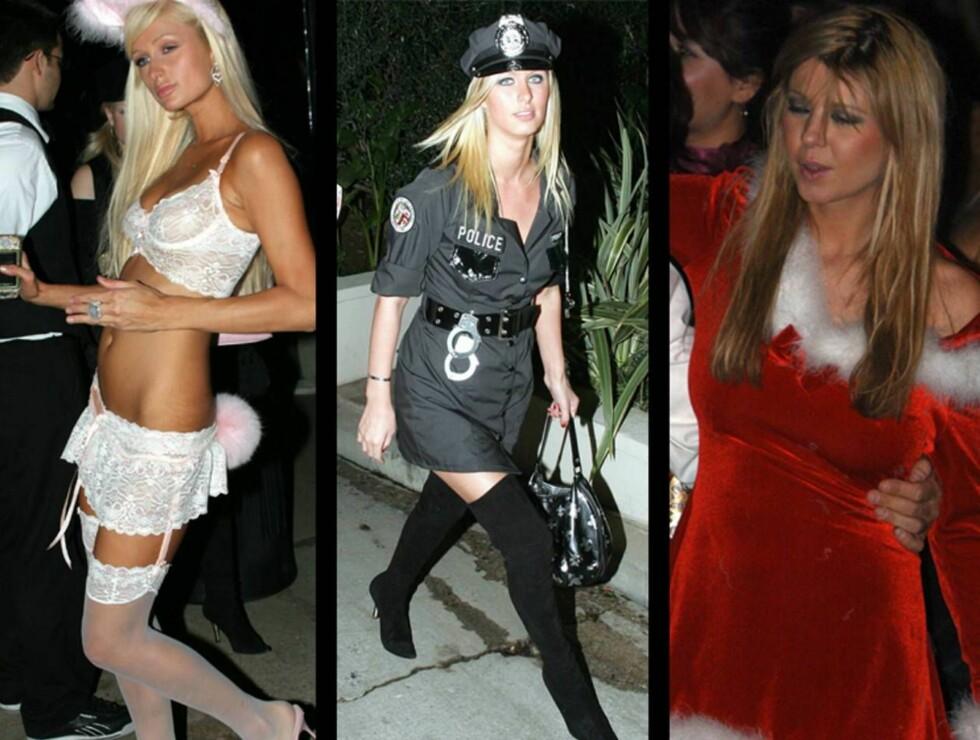 PARTYJENTER: Paris og Nicky Hilton liker å kle seg sexy på fest, mens Tara Reid tydeligvis trodde hun var på julebord...