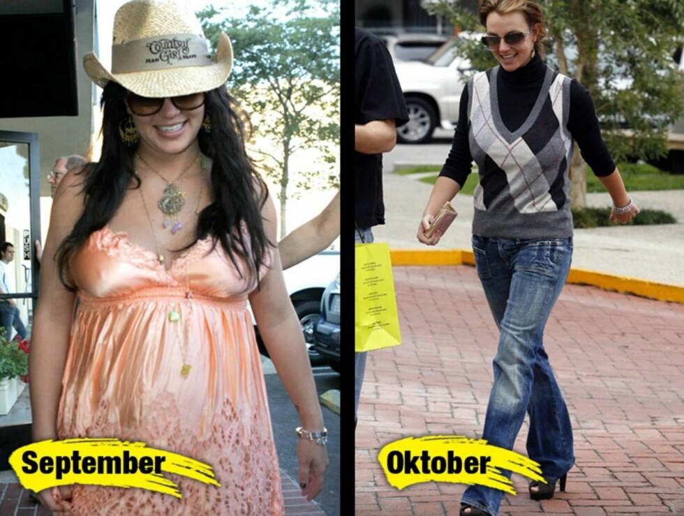 STOR FORSKJELL: Britney smilte og lo da hun kunne ta på seg noe annet enn mammaklær.