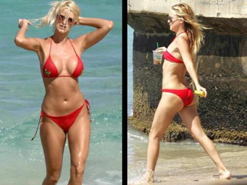 LADIES IN RED: Både Victoria Silvstedt og Kate Hudson er svake for røde bikinier.