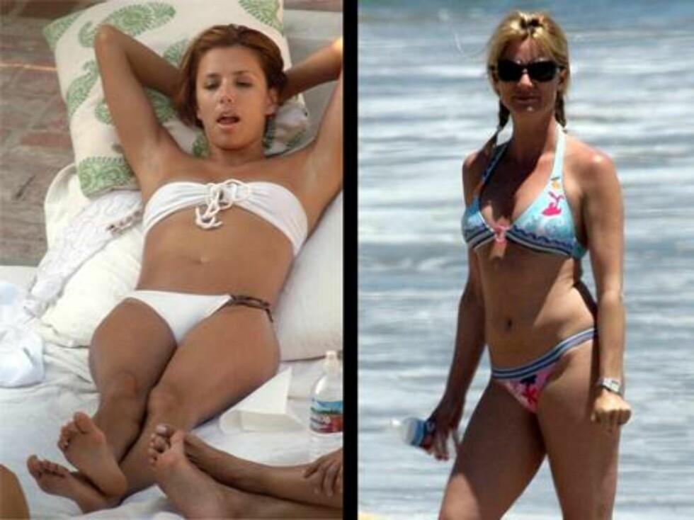 IKKE FRUSTRERT PÅ STRANDA: Eva Longoria og Nicolette Sheridan lot all frustrasjonen forsvinne på stranda.