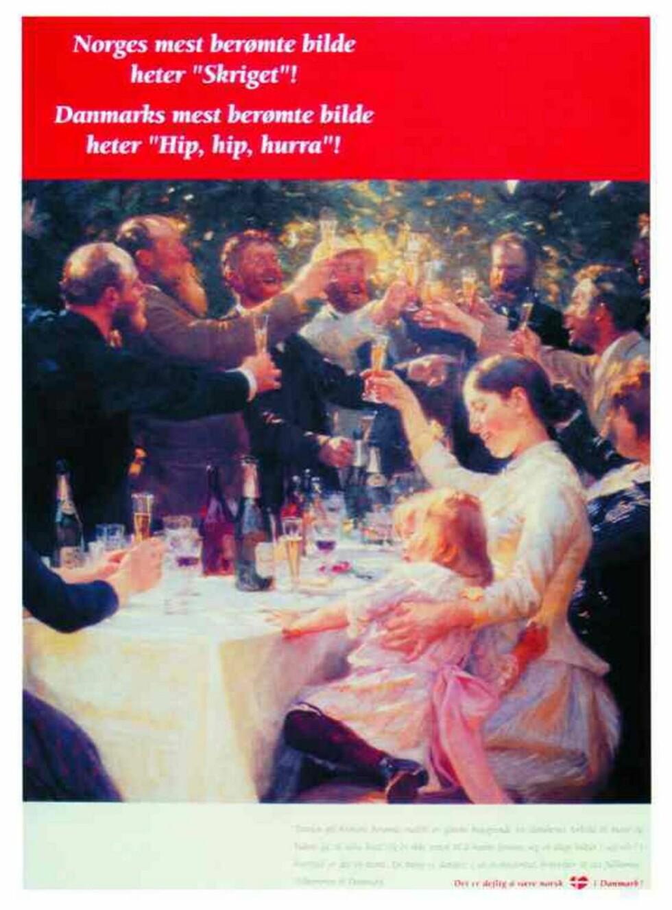 """ÅRHUNDRETS ANNONSE: P.S. Krøyers maleri """"Hip, hip, hurra!"""" er utgangspunkt for århundrets beste reiselivsannonse. Foto: VisitDenmark"""