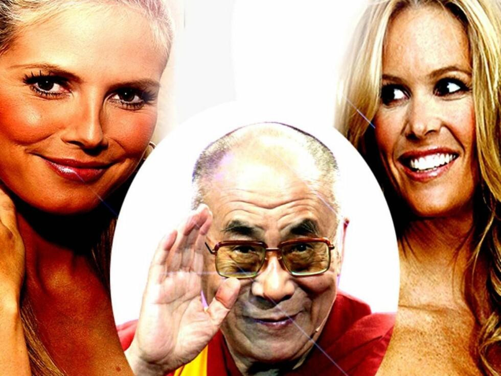 VENNER IGJEN: Dalai Lama inspirerte Elle Macpherson til å legge ned stridsøksen.  Foto: AP/Scanpix