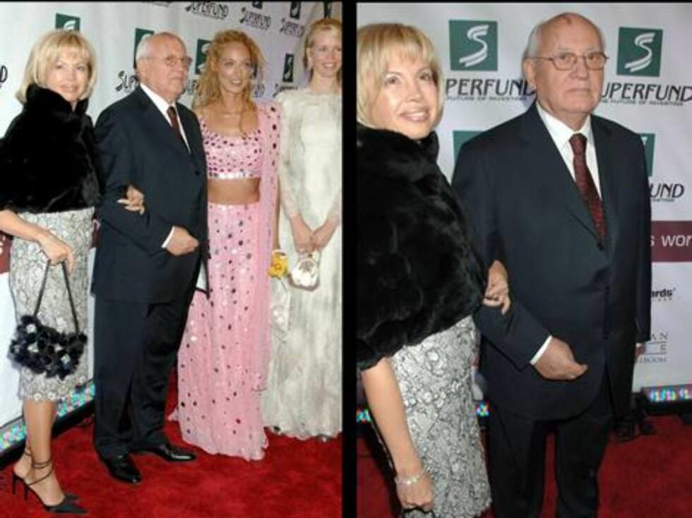 NY FLAMME?: Tidligere Sovjet-leder Mikhail Gorbatsjov kom hånd i hånd med sin gode venninne Irina Virgynskaya. Foto: Stella