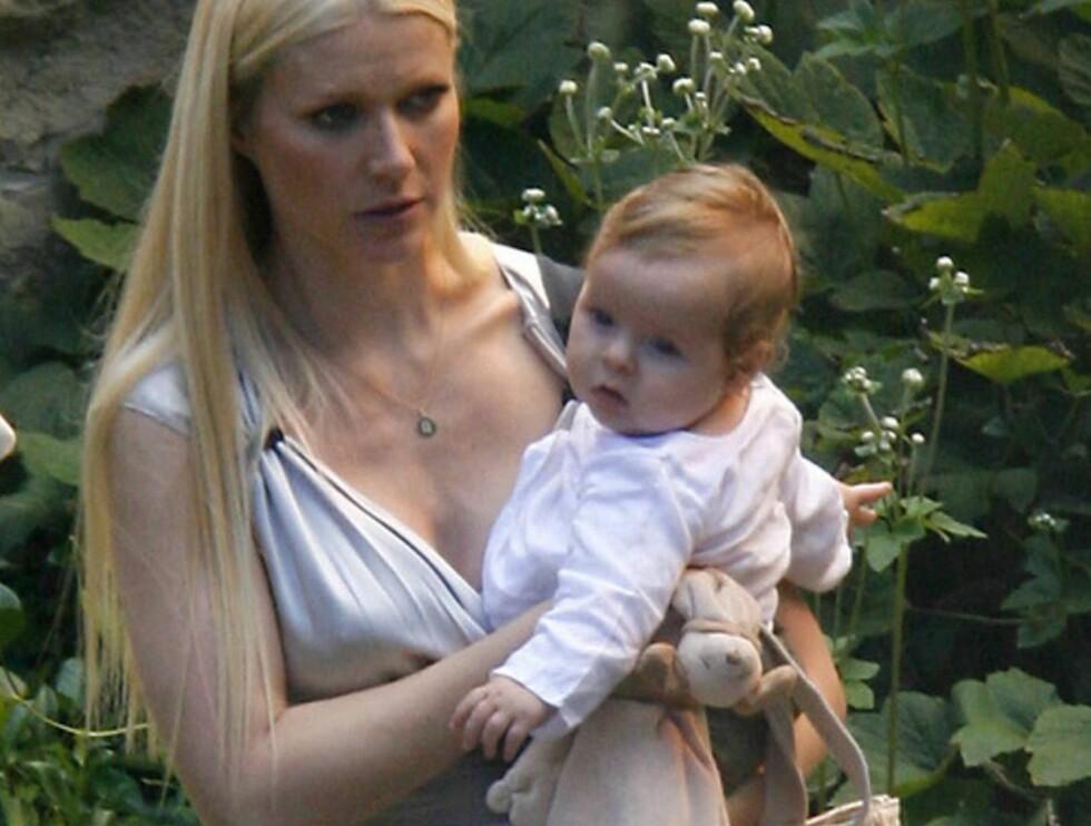 IKKE FORNØYD: Gwyneth her med sitt andre barn, sønnen Moses, vil finne tilbake til sine gamle former... Foto: Stella Pictures