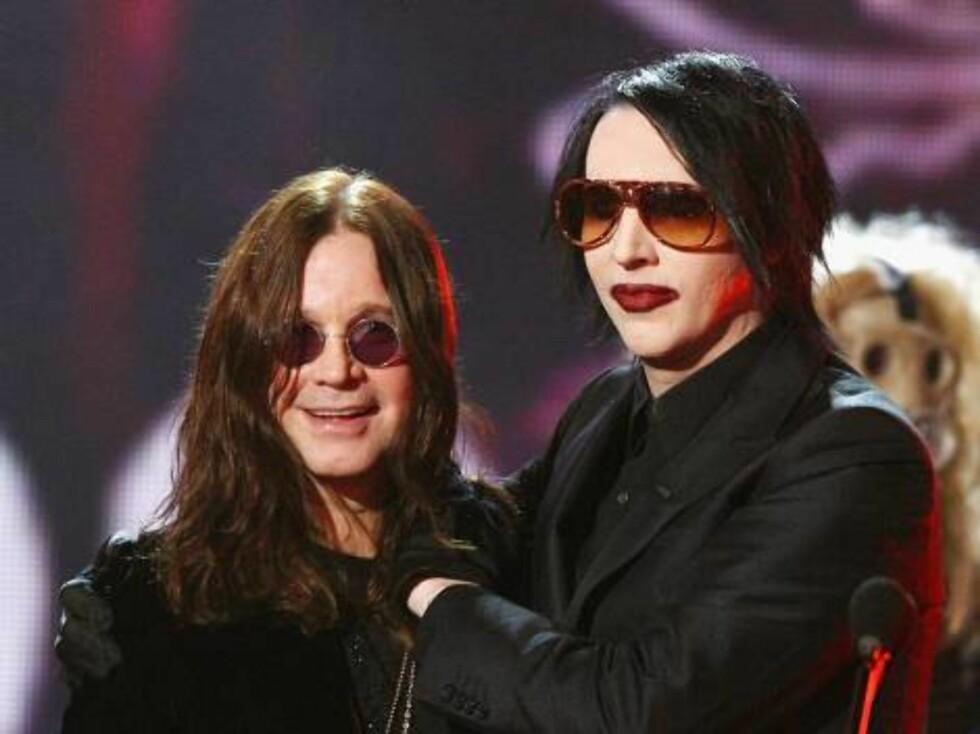 Rockerne Ozzy Osbourne og Marilyn Manson. Foto: All Over Press