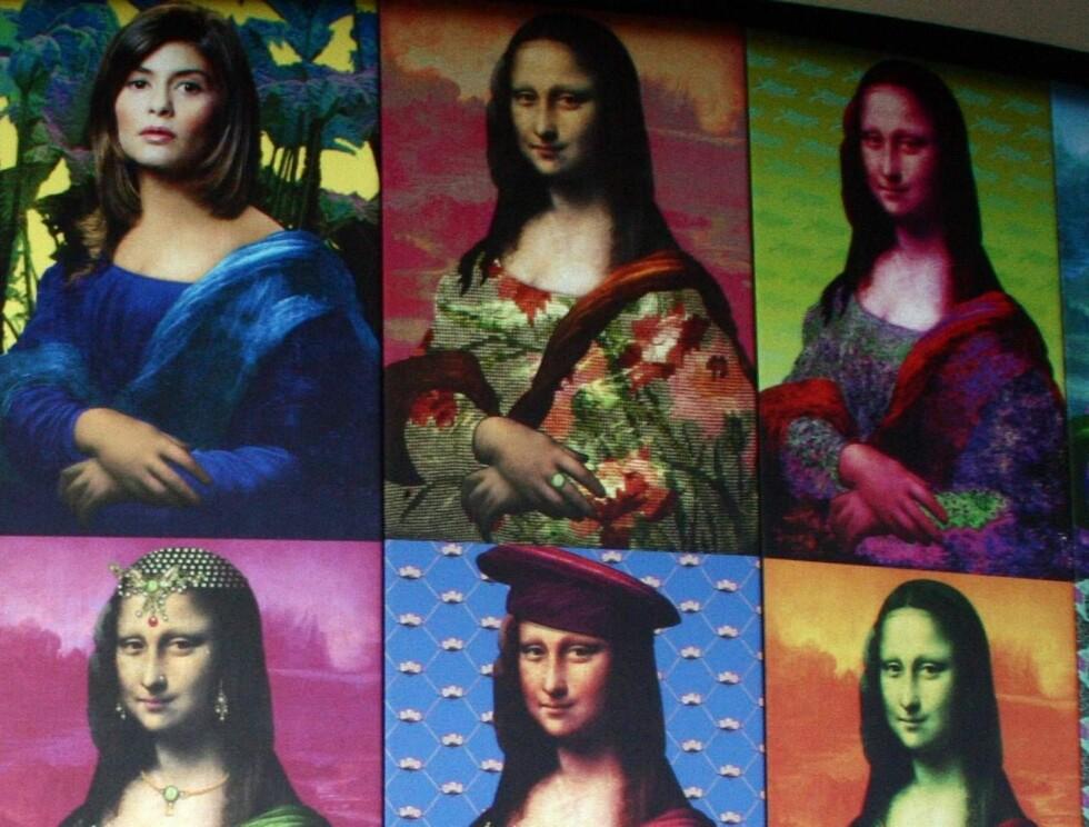 """VARIERT: Mang en kunstner har laget sin versjon av """"Mona Lisa"""". Her er en svært fargerik en. Foto: AP/Scanpix"""