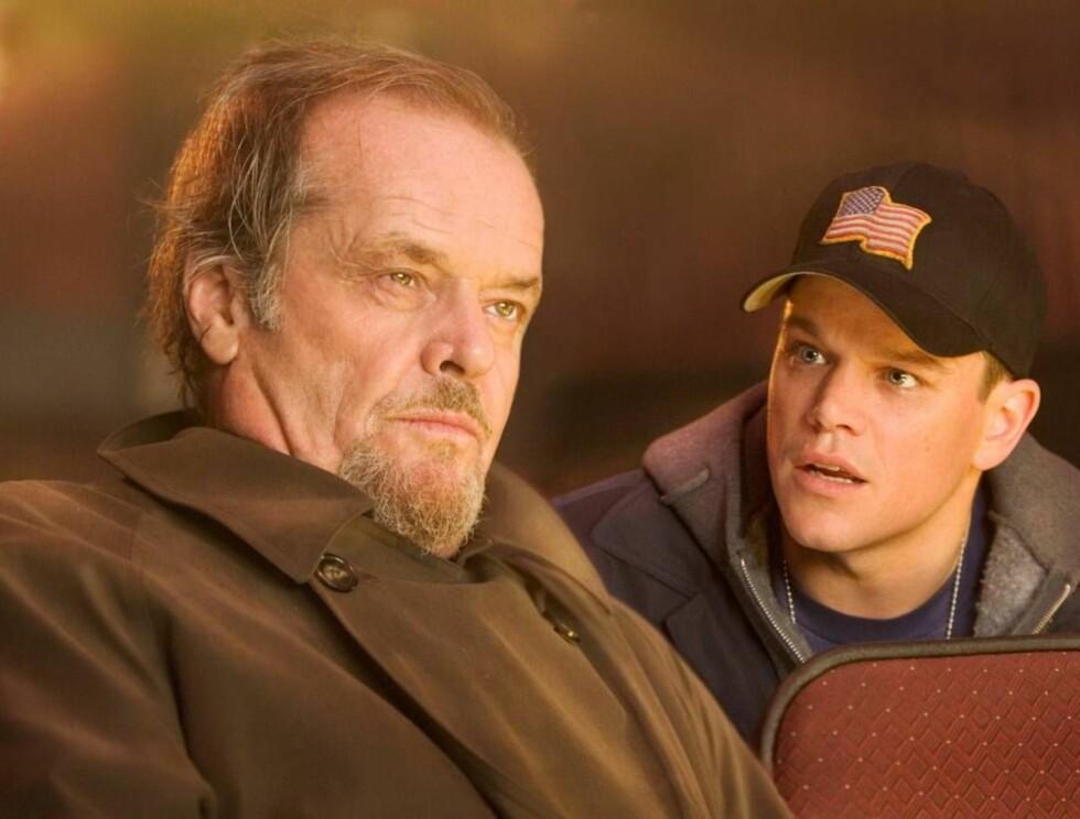 """GODE KOLLEGER: """"Good Will Hunting""""-skuespilleren Matt Damon er en av stjernene som spiller sammen med Nicholson i """"The Departed"""". Foto: Filmweb"""