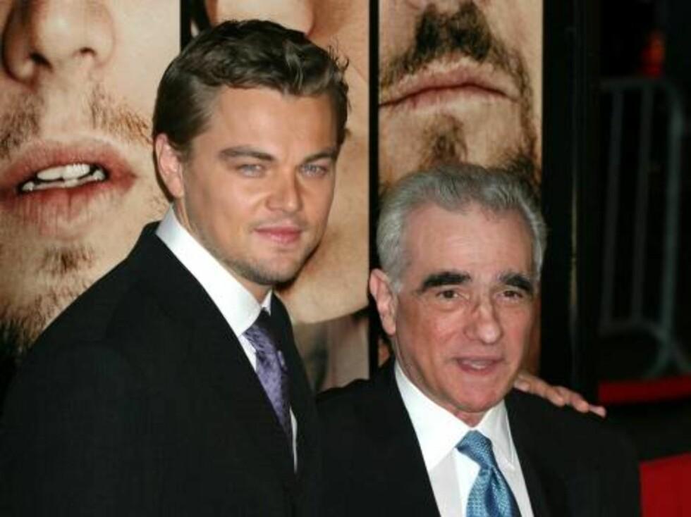 Leonardo DiCaprio har rollen som Billy i filmen. Her er han sammen med filmskaperen Martin Scorsese. Foto: Stella Pictures