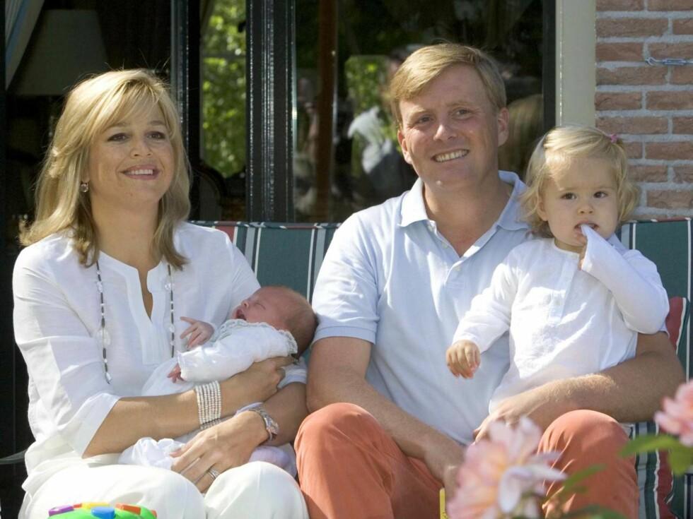 FAMILIELYKKE: Maxima og Willem-Alexander har fra før døtrene Catharina Amalie og Alexia. Foto: All Over Press