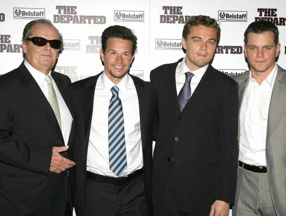 STJERNELAGET: Fra venstre har du Jack Nicholson, Mark Wahlberg, Leonardo DiCaprio og Matt Damon. Foto: AP/Scanpix