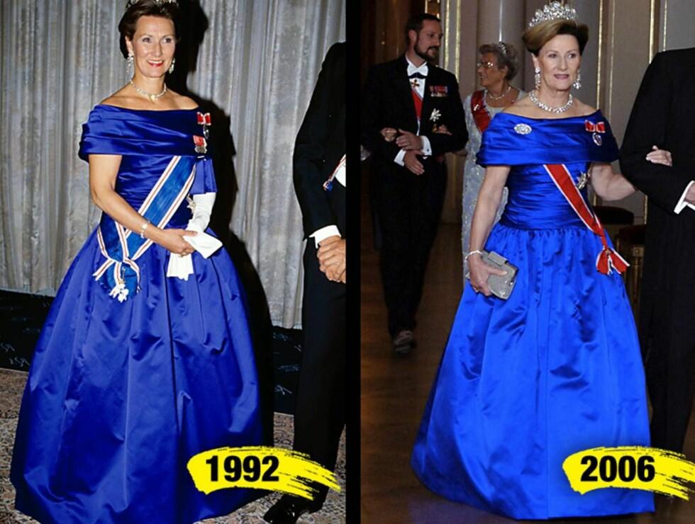 GJENBRUK: Dronning Sonja stråler i samme kjole - med 14 års mellomrom. Og hun er jo like flott i dag! Foto: Montasje