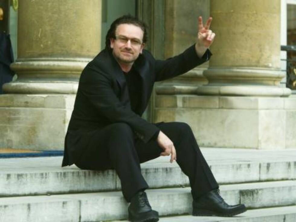 U2-vokalisten Bono sier ikke nei takk til fred. Foto: All Over Press