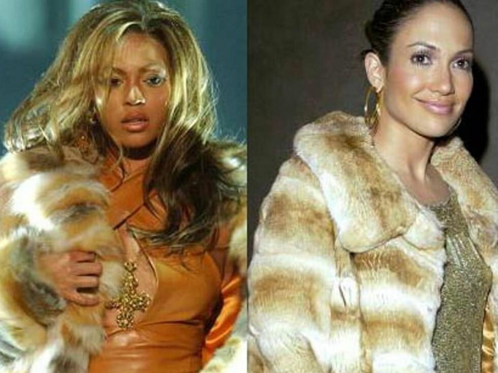 PELS: De to har begge fått dyrevernere på nakken etter å ha brukt pels ved svært mange anledninger. Foto: Fotomontasje, All Over Press