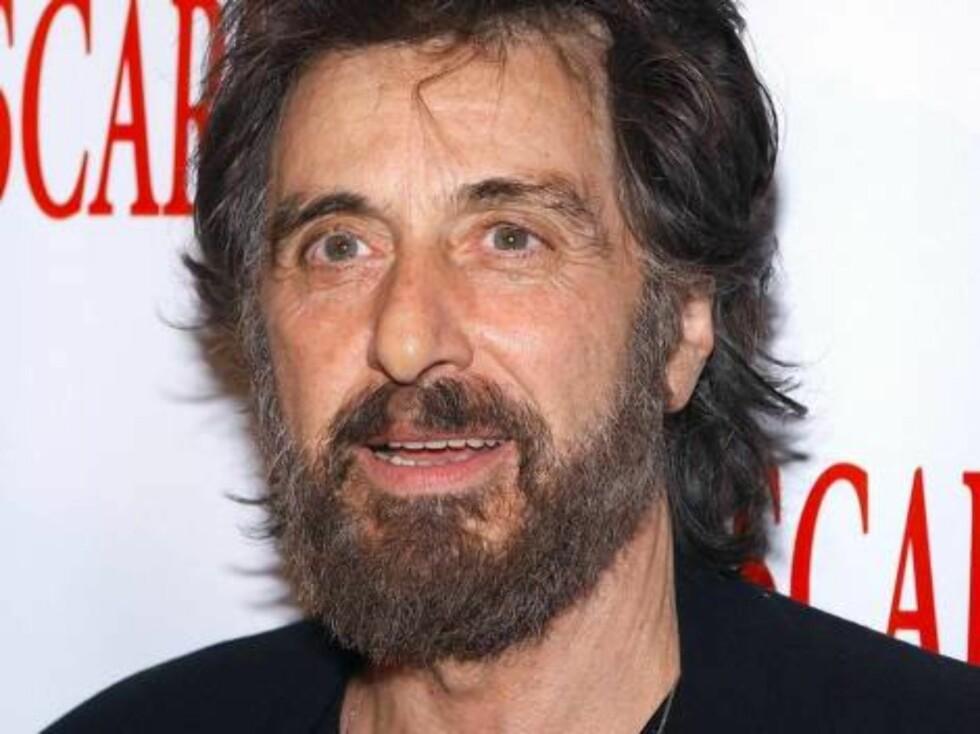 Filmlegenden Al Pacino med et skjevklippet fullskjegg. Foto: All Over Press