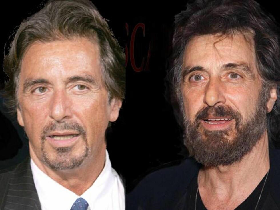 SKJEGG: Det er kanskje ingen tvil om Al Pacino er lekrest med eller uten skjegg ... Foto: Montasje